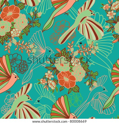 birds of paradise seamless pattern - stock vector