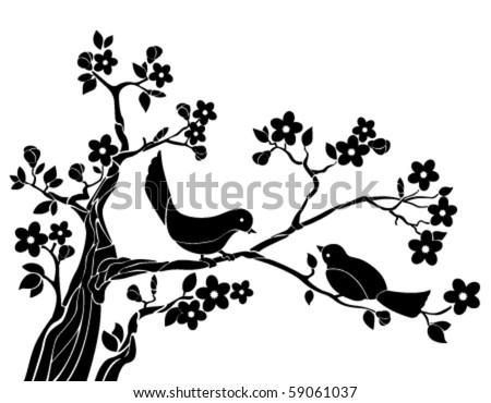 Birds on a branch of sakura - stock vector