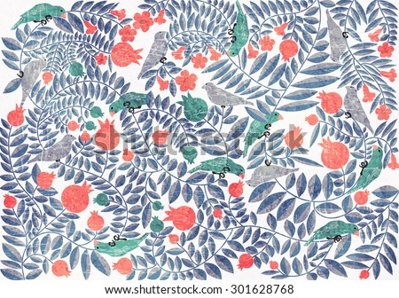 Birds on a tree with fruits and flowers. Paper texture vector graphic