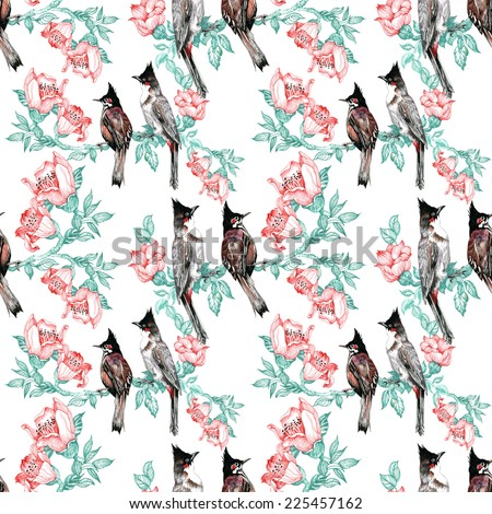Birds on branch with flowers seamless pattern on white background vector illustration - stock vector