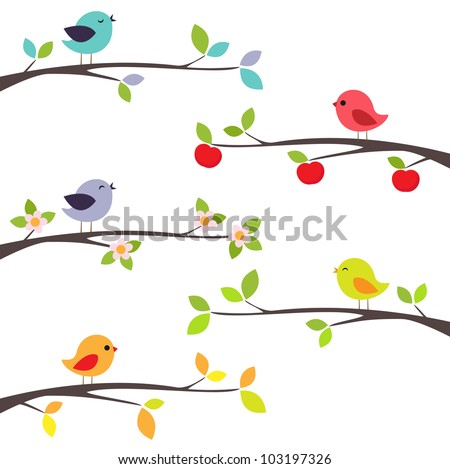Birds on different branches - stock vector