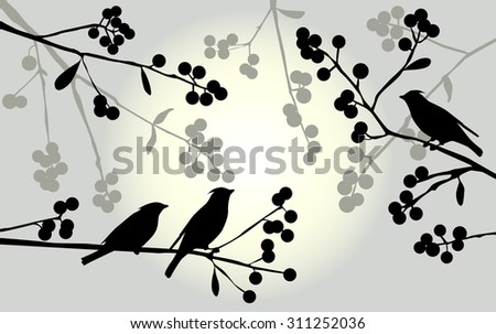 Birds on the branch during summer days - vector illustration - stock vector