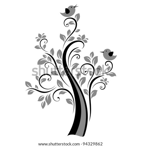 Birds on the tree (black) - stock vector