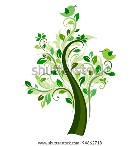 Birds on the tree (green) - stock vector