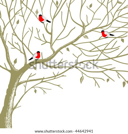 birds on tree - stock vector