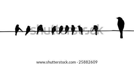 birds on wire - stock vector