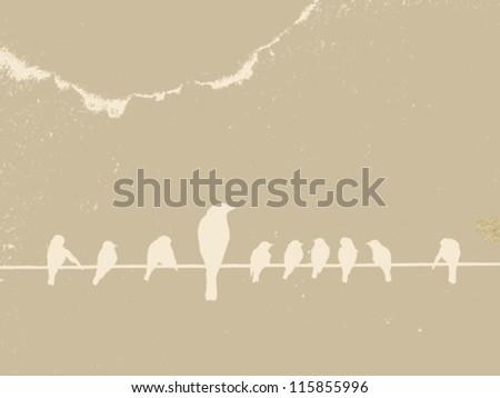 birds on wire on grunge background, vector illustration - stock vector