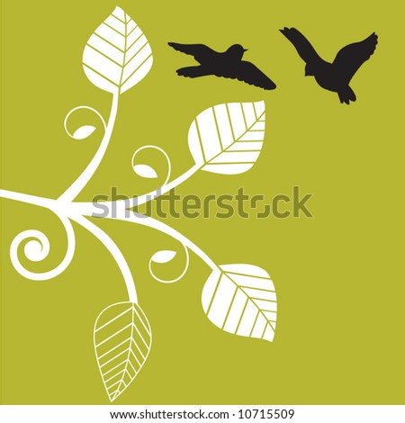 birds playing in flight with funky vine - stock vector