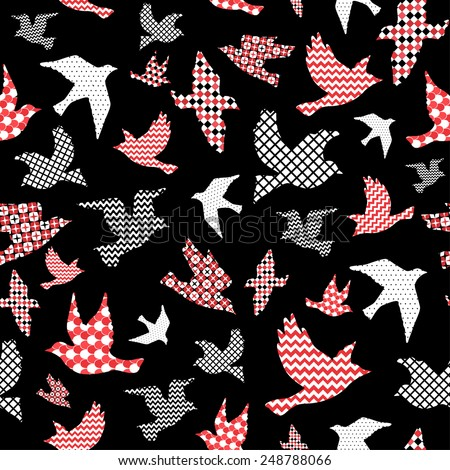 Birds seamless pattern, colorful texture on black background - stock vector