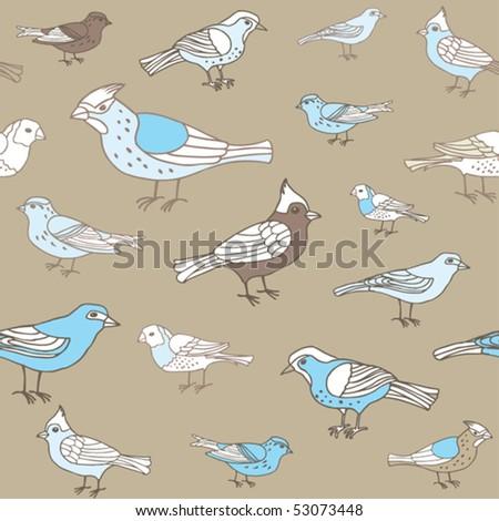 Birds seamless vector - stock vector