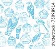 Birds seamless vector with cupcakes - stock vector