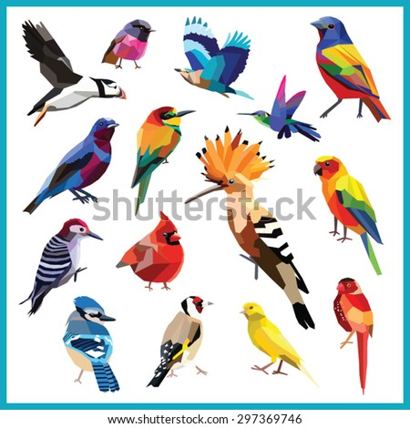 Birds-set of 15 colorful birds low poly design isolated on white background.Bee eater,canary,blue jay,cardinal,cotinga,finch,hoopoe,hummingbird, indian roller,bunting,puffin,robin,wood packer,parakeet - stock vector