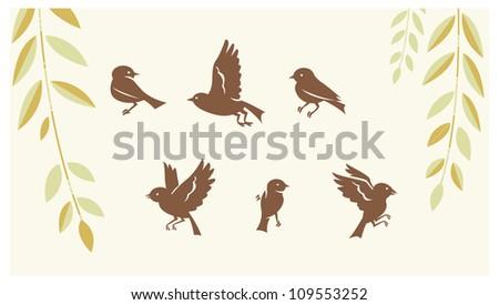 Birds silhouette sets - stock vector