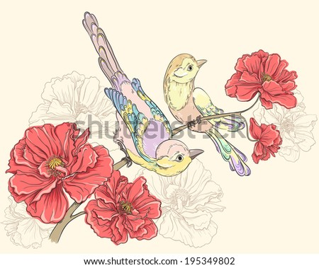 Birds sitting on blooming roses. Flower background. Vector hand drawing illustrations - stock vector
