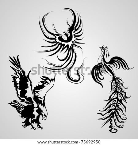 birds tattoo - stock vector