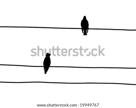 birds to waxwings on wire - stock vector