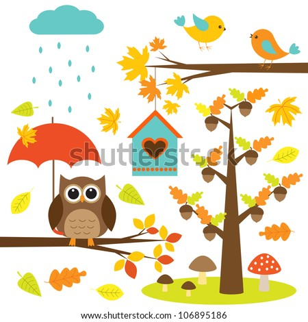 Birds,trees and owl. Autumnal set of vector elements - stock vector