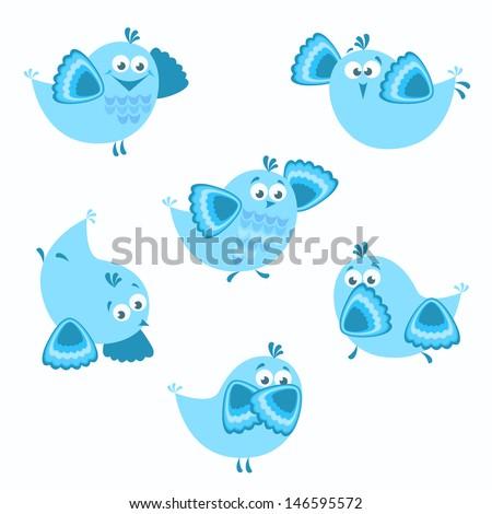 Birds. Vector set of 6 cartoon birds with various emotions. - stock vector