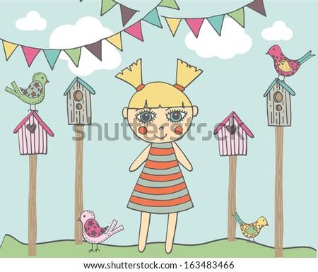 Birds with cartoon girl - stock vector