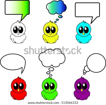 Birds with different bubbles for text vector - stock vector