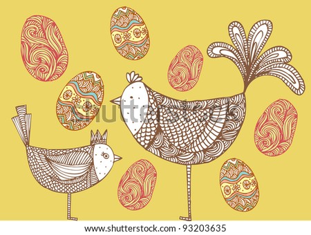 birds with eggs illustration/vector - stock vector