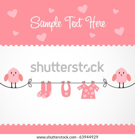 birdy baby card - stock vector