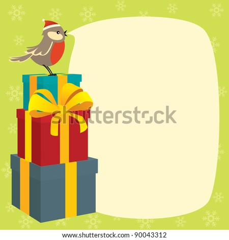 Birdy wishes Merry Christmas - stock vector
