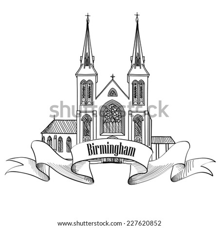 Birmingham city label isolated. Travel England sign. Birmingham St Chad's cathedral, UK, Great Britain. English city famous building.  - stock vector
