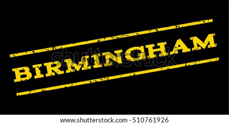 Birmingham watermark stamp. Text tag between parallel lines with grunge design style. Rubber seal stamp with dust texture. Vector yellow color ink imprint on a blue background.
