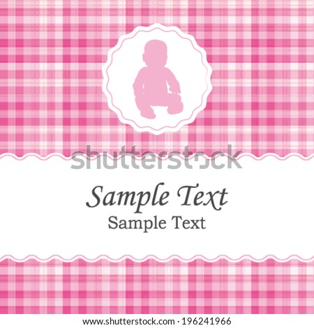 Birth announcement or baby shower vector invitation card for a newborn girl. Beautiful white and pink gingham fabric pattern. - stock vector