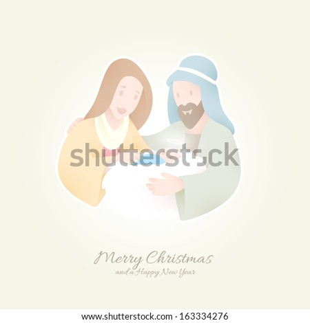 Birth of Christ | Jesus held by Maria and Joseph | Peaceful Christmas Background - stock vector
