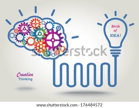 Birth of IDEA. Concept background.  - stock vector