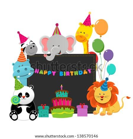 Birthday Animals - stock vector