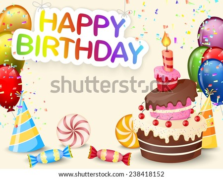 Birthday background with birthday cake and colorful balloon - stock vector