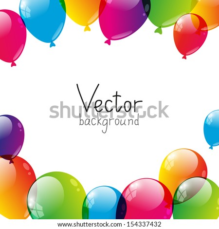Birthday background with color balloons - stock vector