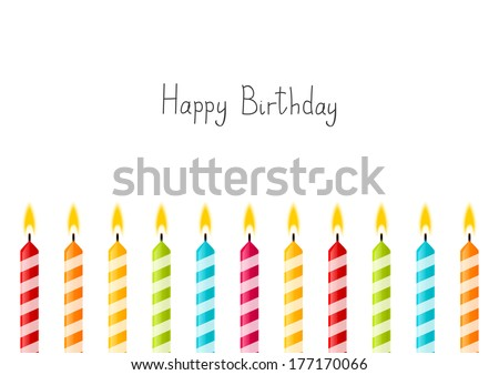 Birthday background with color candles - stock vector