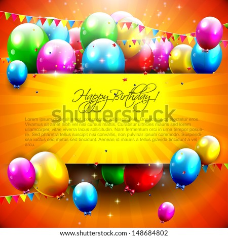 Birthday background with colorful balloons and copyspace  - stock vector