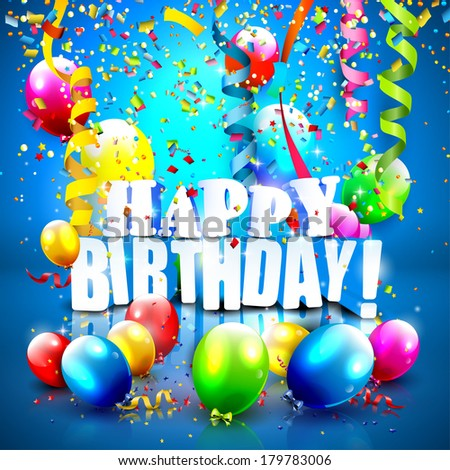 Birthday background with colorful confetti and balloons on blue background - stock vector