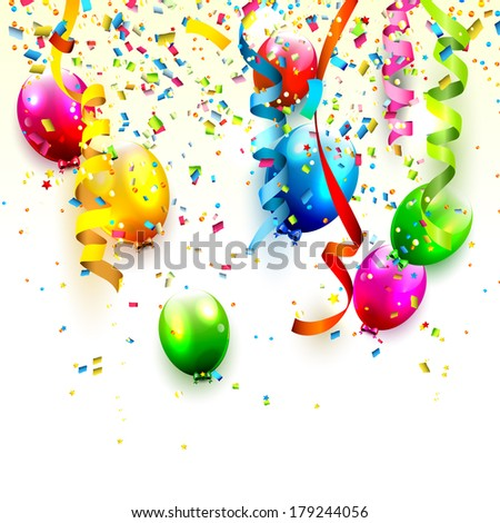 Birthday background with colorful confetti and balloons on white background  - stock vector