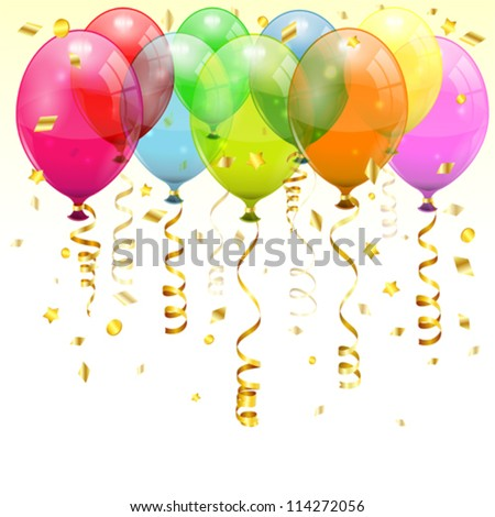 Birthday Background with 3D Transparent Birthday Balloons and Streamer, easy change color, vector - stock vector