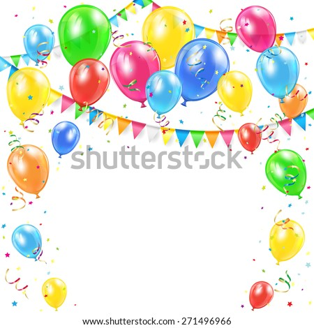 Birthday background with Holiday decoration, colorful balloons, pennants and confetti, illustration. - stock vector