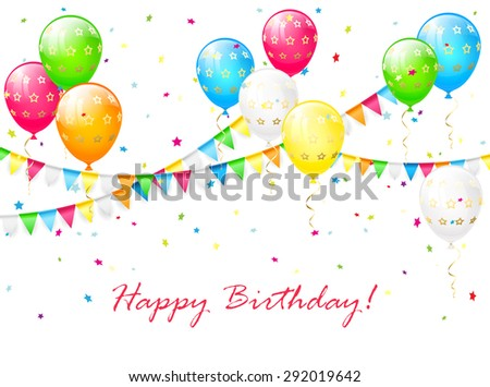 Birthday background with multicolored balloons, streamers, colorful confetti and pennants, illustration. - stock vector