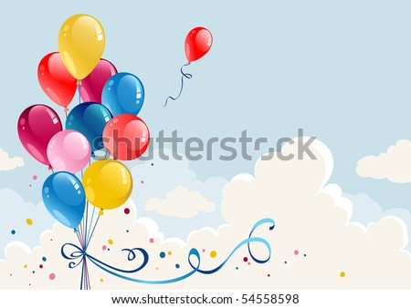 Birthday balloons background with space for text - stock vector