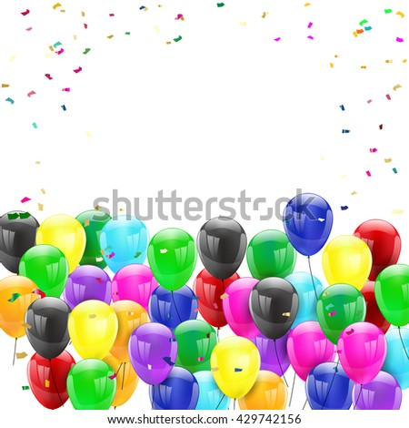 Birthday balloons on isolated background with place for text - stock vector