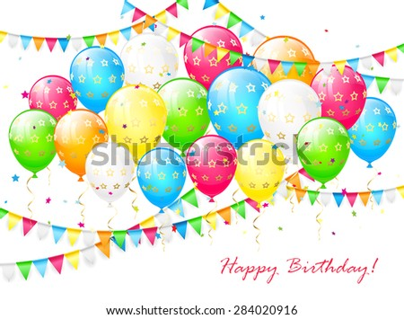 Birthday balloons with streamers, colorful confetti and pennants on a white background, illustration. - stock vector