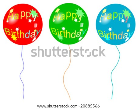 Birthday balloons with strings - stock vector