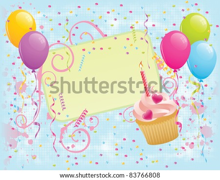 Birthday banner with cupcake, balloons and confetti. EPS 8 CMYK with global colors vector illustration. - stock vector