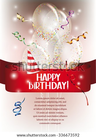 Birthday banner with transparent air balloons, confetti and red ribbon - stock vector