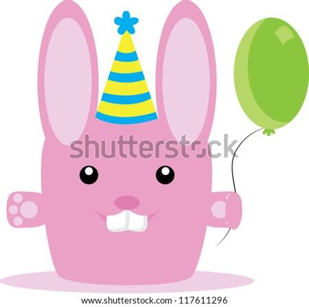 Birthday bunny - stock vector