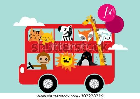 birthday bus greeting template vector/illustration - stock vector